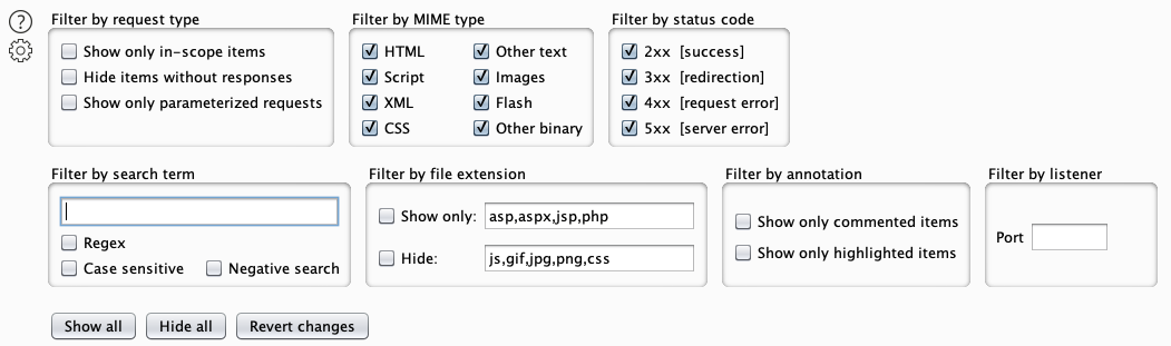 BurpSuite built-in filtering options